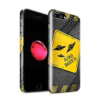 STUFF4 glans terug Snap-On telefoon Hardcase voor de Apple iPhone 7 Plus / UFO/Flying Saucers Design / grappige verkeersborden collectie