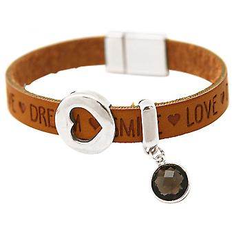 -Bracelet - heart - love - WISHES - smoky quartz - Brown sand - magnetic closure