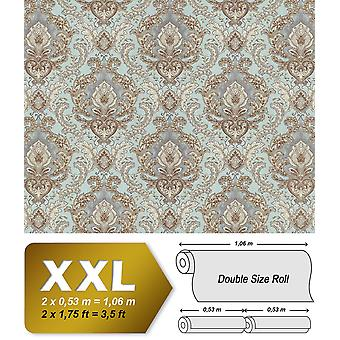 Baroque wallpaper EDEM 9063-39 non-woven wallpaper imprinted with ornaments shiny turquoise creamy white silver Brown 10.65 m2
