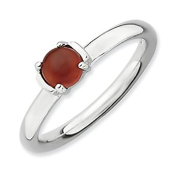 2.5mm Sterling Silver Prong set Rhodium-plated Stackable Expressions Polished Red Agate Ring - Ring Size: 5 to 10