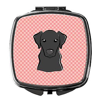 Carolines Treasures  BB1235SCM Checkerboard Pink Black Labrador Compact Mirror