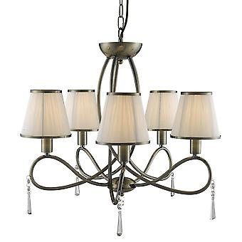 Searchlight 1035-5AB Simplicity Multi Arm Ceiling Light Antique Brass