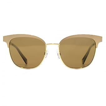 Polaroid Classic Metal Cateye Sunglasses In Semi Matte Gold Polarised
