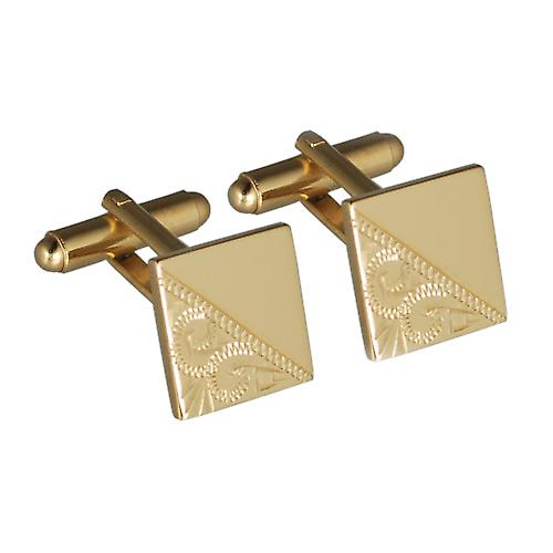 Hard Gold Plated 14mm square hand engraved swivel Cufflinks