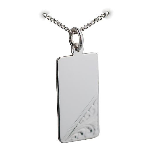 Silver 26x13mm hand engraved rectangular Disc with a curb Chain 18 inches