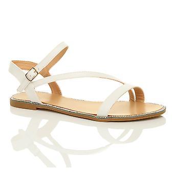 Ajvani womens flat strappy buckle diamante trim summer evening sandals shoes