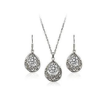 Womens Silver White Hollow Teardrop Jewellery Set Drop Earrings And Necklace