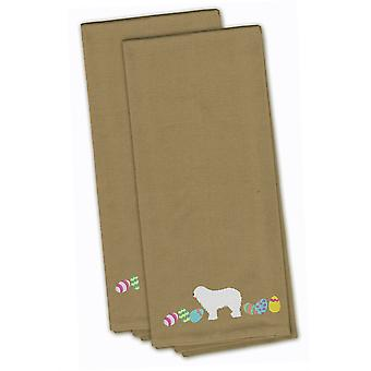 Komondor Easter Tan Embroidered Kitchen Towel Set of 2