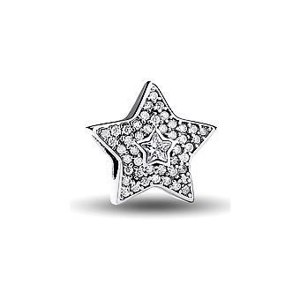 Charms 925 Silver Star Bead and Crystal white