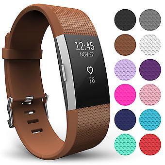 Yousave Fitbit carga 2 correa simple (pequeño) - marrón