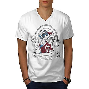 Girl Japan Woman Men WhiteV-Neck T-shirt | Wellcoda