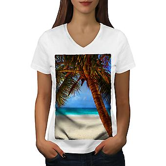 Beach Beautiful Nature Women WhiteV-Neck T-shirt | Wellcoda