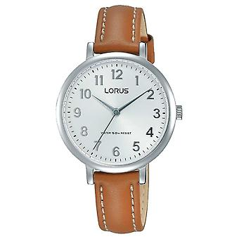 Lorus Womans Soft White Dial Tan Leather Strap RG237MX7 Watch