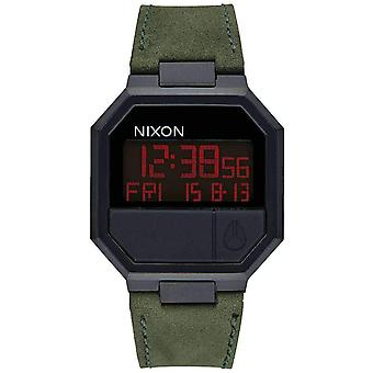 Nixon The Re-Run Leather Watch - Black/Green