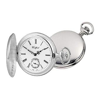 Woodford Albert Full Hunter Swiss Pocket Watch - Silver