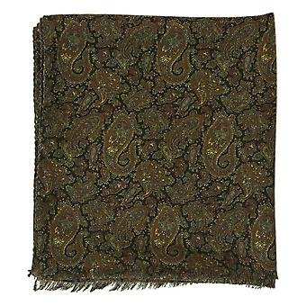40 Colori Ancient Paisley Printed Wool and Silk Scarf - Navy