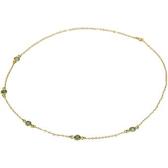 Chalcedony - 52 cm - Aqua - gold-plated ladies - necklace - 925 sterling silver-