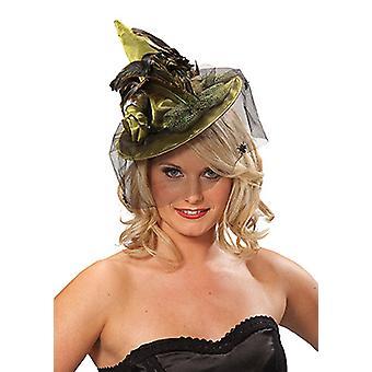 Chapeau de sorcière avec pince à cheveux vert plumes