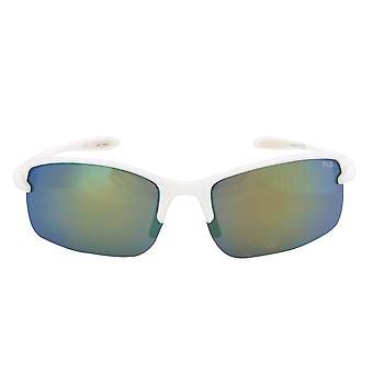 Fila Sport FAC1043 109 Rectangular Wrap Sunglasses | White Frame | grey Mirror Lens