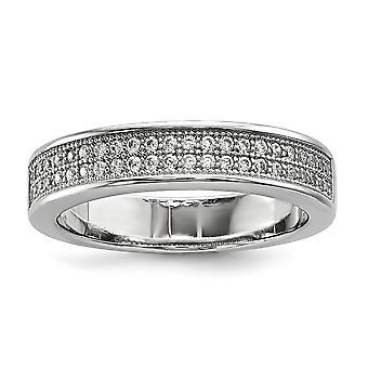 Sterling Silver Pave rodium-klädd och Cubic Zirconia Fancy Ring - Ring storlek: 6 till 8