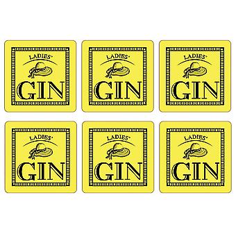 Ladies' Gin Set of 6 Coasters, Lemon