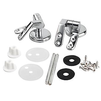 TRIXES Pair of Chrome Finished Toilet Seat Hinges For Wood Seats Inc Fittings