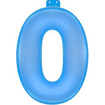 Oppblåsbare tallet 0 blå 35 cm