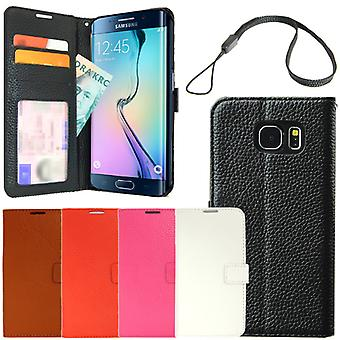 Echt lederen case wallet Samsung Galaxy S6 Edge ID/foto Pocket