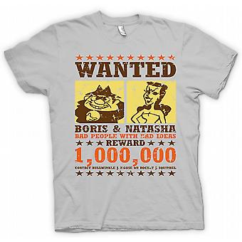 Wanted - Boris & Natasha - Funny  - 100% Cotton Short Sleeve Mens T Shirt