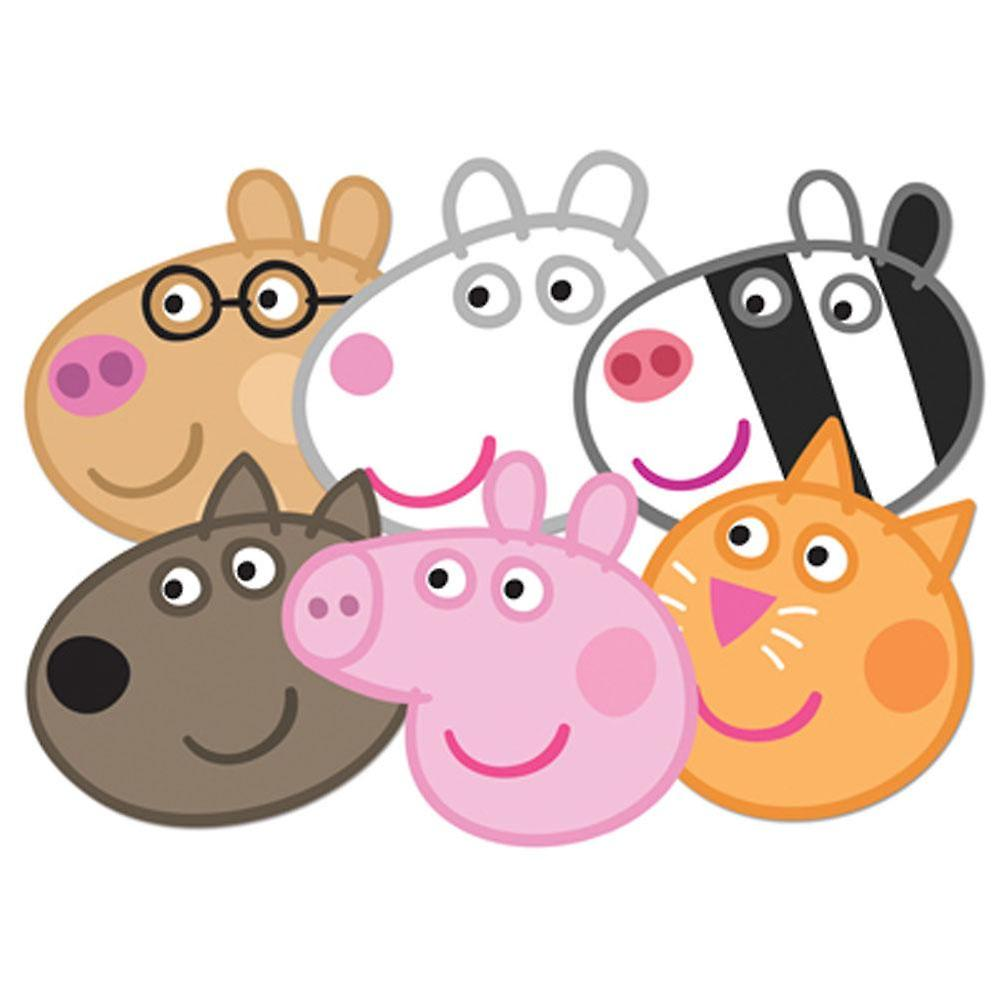 Peppa Pig Card Face Mask Set van 6 (Peppa, Candy, Danny, Suzie, Pedro en Zoe)