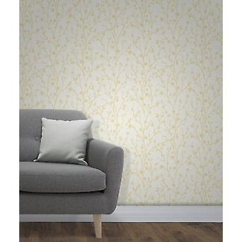 Elegant Twiggy Sidewall Yellow Wallpaper Wall Decoration 0.52m x 10.05m