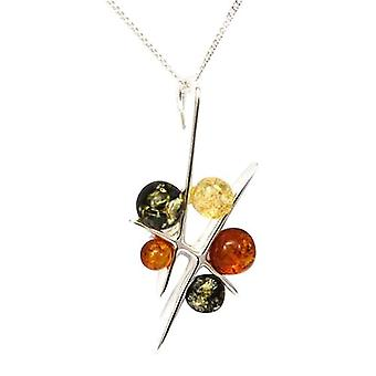 Toc Sterling Silver Chinese Chopsticks Amber Pendant on 18 Inch Chain