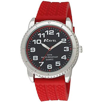 Ravel Gents Analogue Large Black Dial rED Silicone Strap Watch R5-20.10G