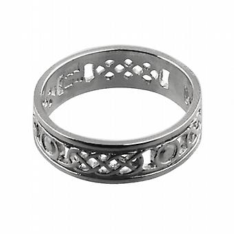 9ct White Gold 6mm pierced Celtic Wedding Ring Size R