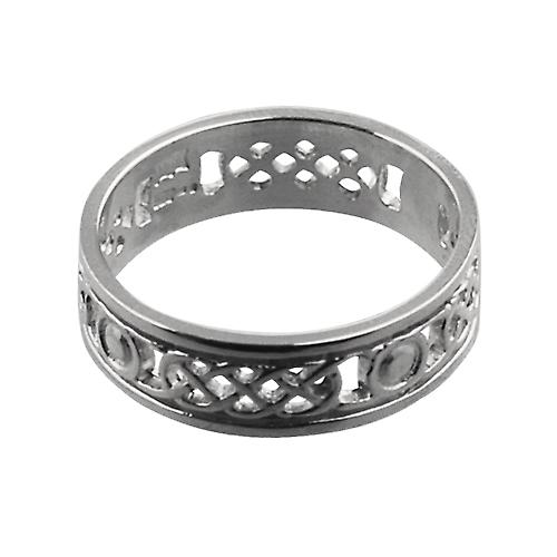 9ct White Gold 6mm pierced Celtic Wedding Ring Size Y