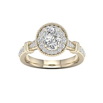 DE COUER 3/4Ct TDW Oval Diamond 14k Yellow Gold Halo Engagement Ring (I-J, I2)