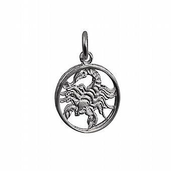 Silver 11mm pierced Scorpio Zodiac Pendant