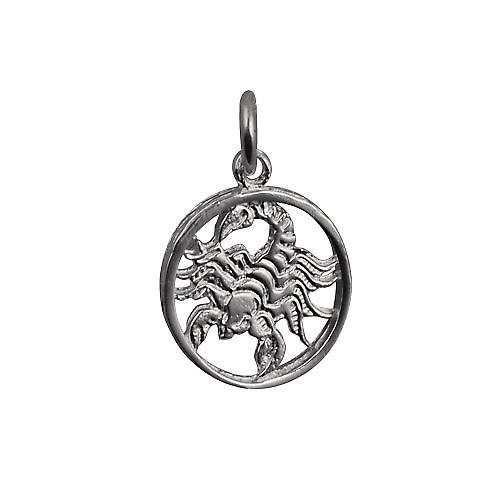 Silver 11mm pierced Zodiac pendant Scorpio