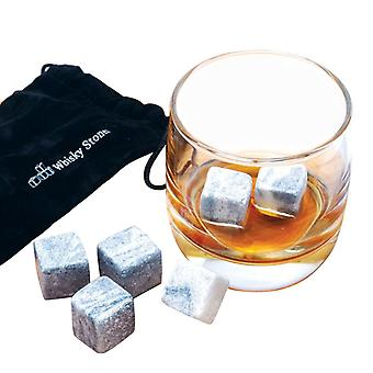 9 PCS Whisky Chilling Rocks Ice Stones Getränke Cooler Cubes Whiskey Scotch on the Rocks Granit mit Muslin Pouch