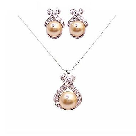 Necklace Set In Harvest Gold Swarovski Harvest Gold Pearls Set