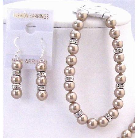 Inexpensive Jewelry Swarovski Bronze Pearl Exclusively Bridal Bracelet