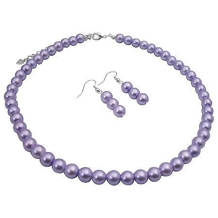 Bridal Bridesmaid Cheap Jewelry Set Victorian Lilac Wedding Pearls Set