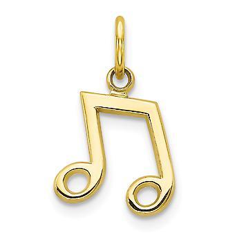10 k amarelo ouro sólido polido traseira plana charme de nota Musical -.6 gramas