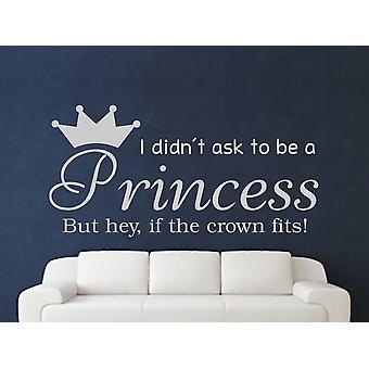 Att vara en prinsessa v2 Wall Art klistermärke - grå