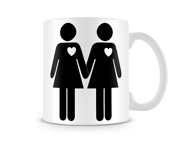 Stick Women Hearts Printed Mug
