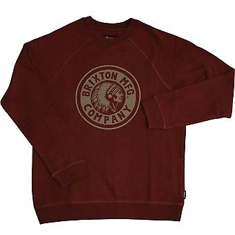 Brixton Ltd Rival Crewneck Sweatshirt Burgundy Gold