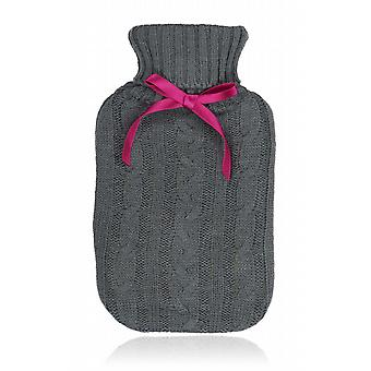 Grey Cable Knitted Cover 750ml Mini Hot Water Bottle