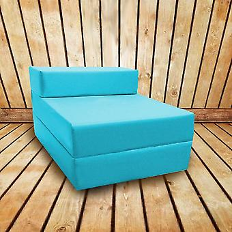 Water Resistant Fold Out Single Z Bed Sofa - Turquoise