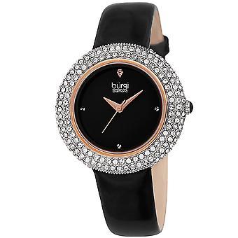 Burgi Women's Swarovski Crystal & Diamond Accented Silver & Fiery Red Leather Strap Watch BUR199BKR