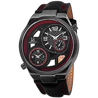 Joshua & Sons Men's JS83RD Swiss Quartz Dual Time Leather Strap Watch